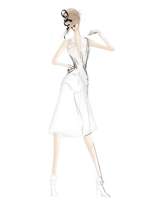 Fashion Illustration - Pencil and digital colouring. Suitable for commercial / editorial work.