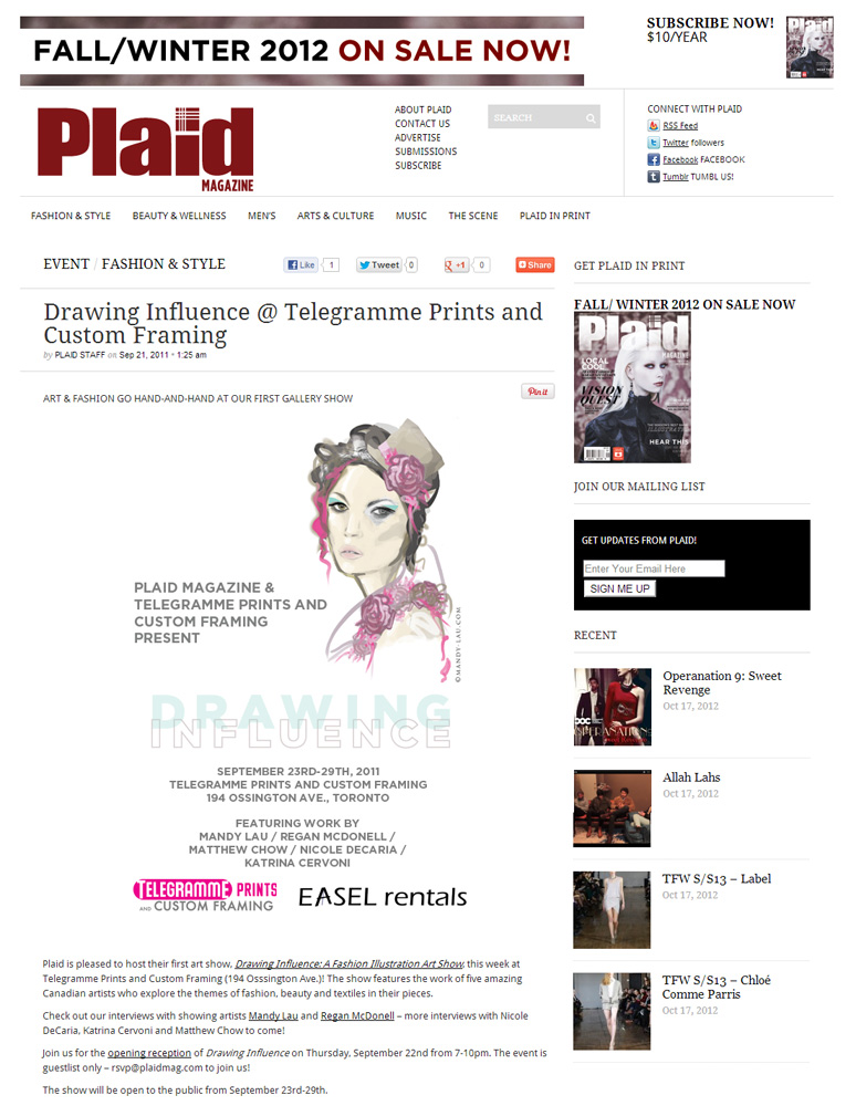 Drawing Influence – A Fashion Illustration Art Show, Toronto 2011