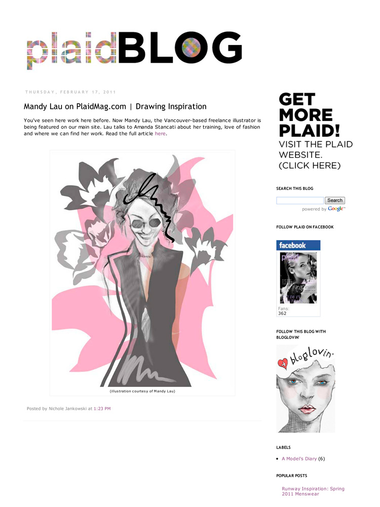 Drawing Inspiration, Plaid Magazine, 2011