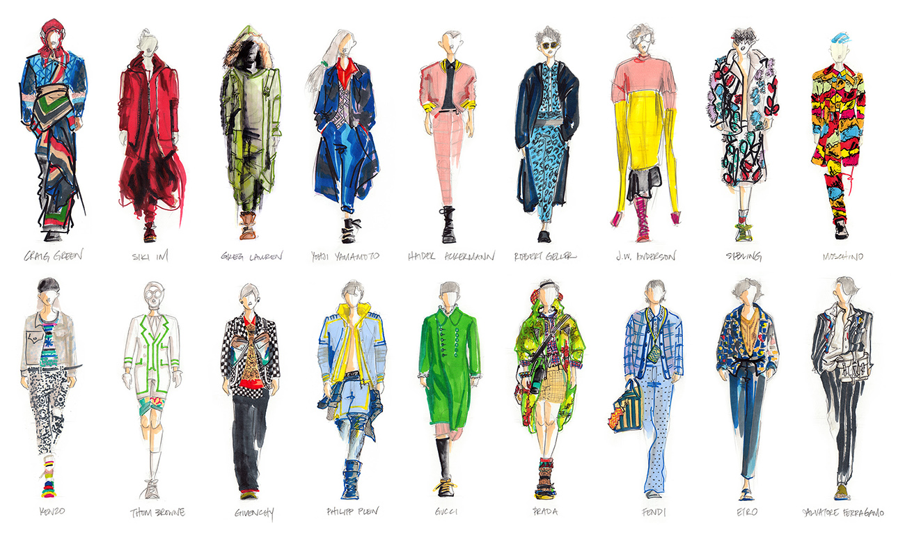 Fashion Illustrations - Pencil and markers. Suitable for special events live sketching.